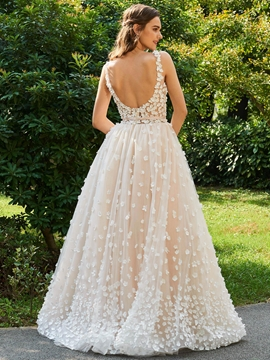 Backless Lace Color Wedding Dress
