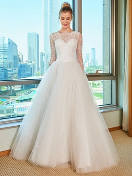 Backless Long Sleeves Wedding Dress