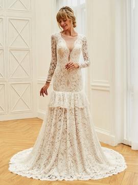 Backless Mermaid Lace Long Sleeves Wedding Dress