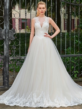 Ball Gown Appliques Tulle Sleeveless Wedding Dress