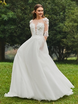 Ball Gown Half Sleeves Appliques Tulle Wedding Dress