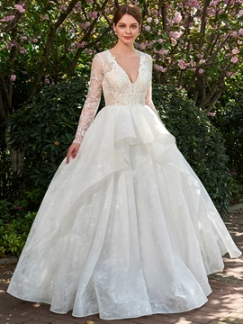 Ball Gown Long Sleeves V-Neck Wedding Dress