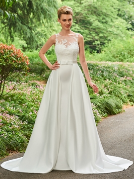 Bateau Appliques A Line Matte Satin Wedding Dress