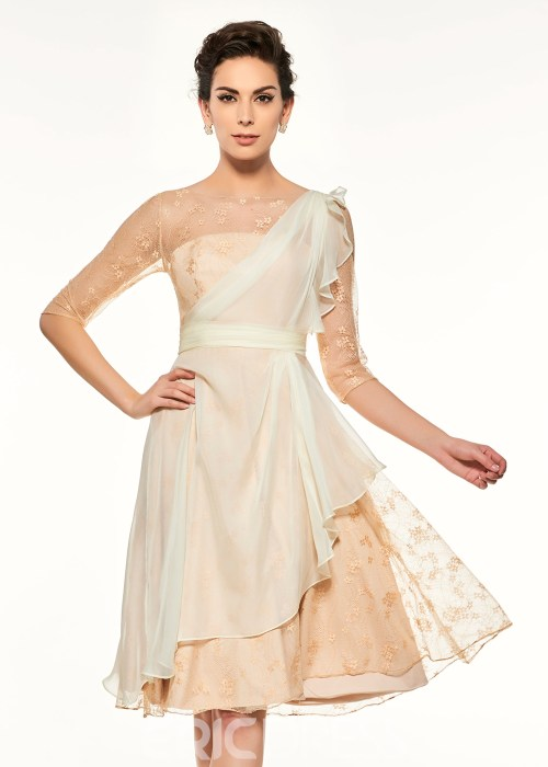 Bateau Half Sleeves A Line Knee Length Mother Of The Bride Dress