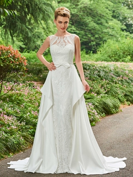 Bateau Lace A Line Matte Satin Wedding Dress