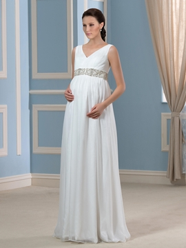 Beading V Neck Sleeveless Maternity Wedding Dress