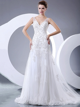 Beautiful Appliques Beaded V Neck A Line Wedding Dress