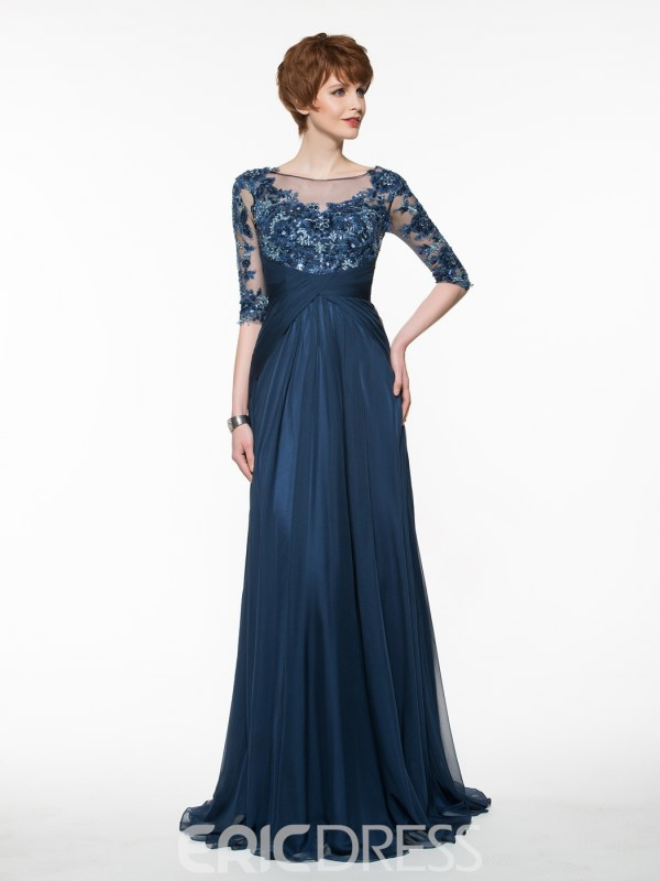 Beautiful Bateau A Line Long Mother Of The Bride Dress