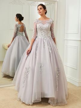 Beautiful Bateau Appliques Half Sleeves Color Wedding Dress