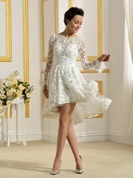 Beautiful Bateau Long Sleeves A Line Asymmetry Wedding Dress