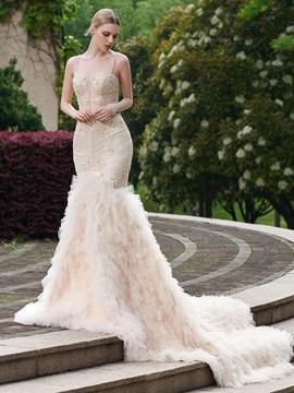 Beautiful Beaded Spaghetti Straps Mermaid Wedding Dress
