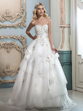 Beautiful Beaded Sweetheart A Line Wedding Dress