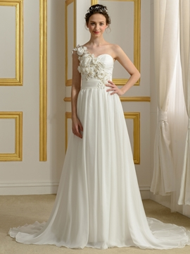 Beautiful Flowers A Line Wedding Dress