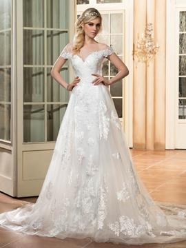 Beautiful Illusion Neckline Appliques A Line Backless Wedding Dress