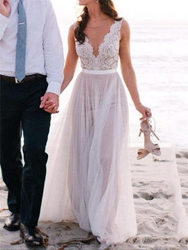 Beautiful Illusion Neckline Lace A Line Beach Wedding Dress