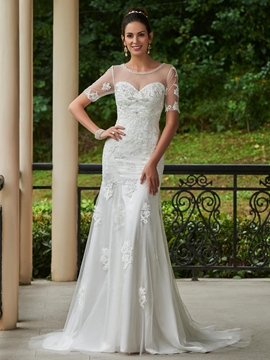 Beautiful Scoop Appliques Beaded Mermaid Wedding Dress