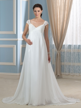 Beautiful Straps Lace A Line Maternity Wedding Dress