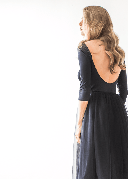 Black Backless Tulle Maxi Dress 1050