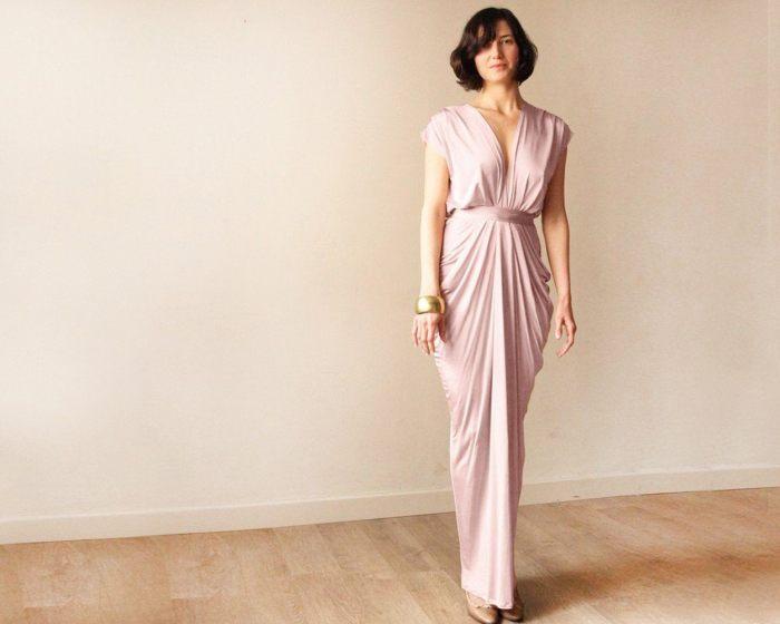 Blush pink bridesmaids backless maxi dress SALE 1008
