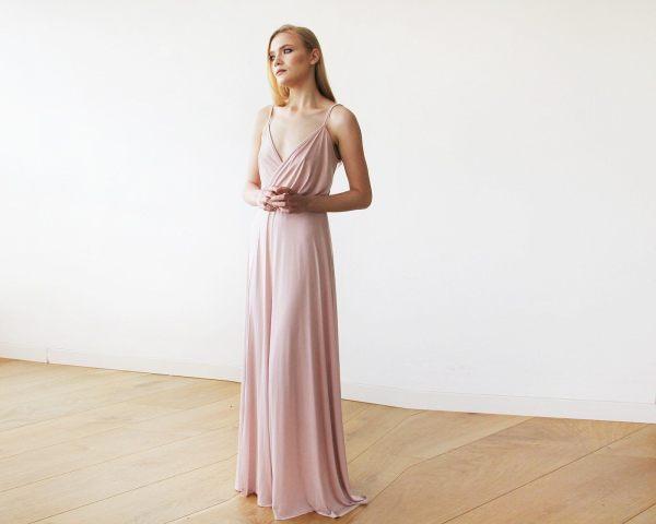 Blush pink maxi wrap dress 1060