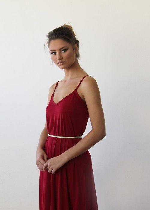 Bordeaux Maxi dress with thin straps 1026