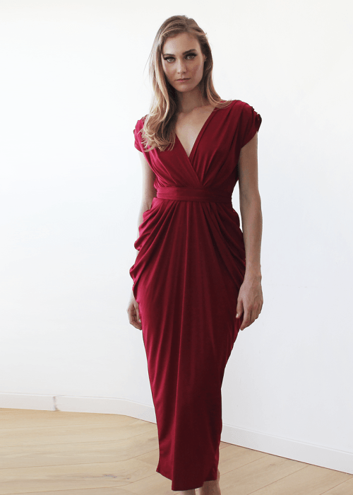 Bordeaux formal maxi dress SALE 1008