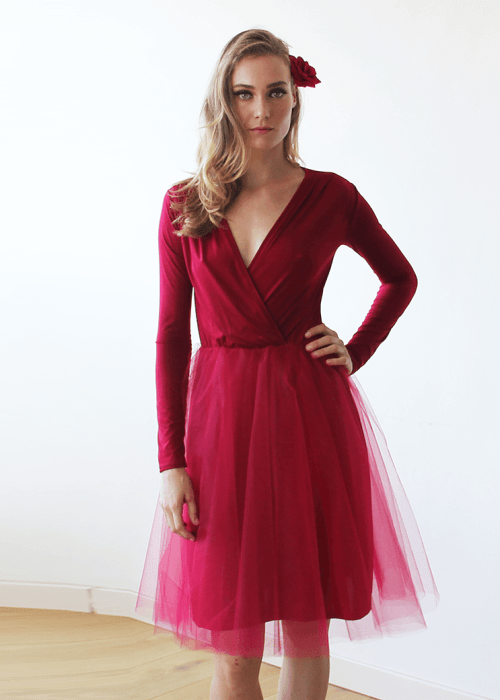 Bordeaux tulle midi dress with long sleeves 1068
