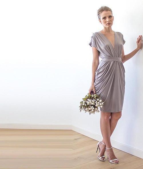 Bridesmaids taupe formal knee length dress 1007