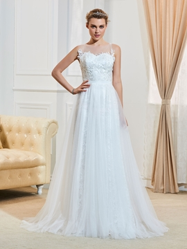 Casual Illusion Neckline Backless A Line Wedding Dress