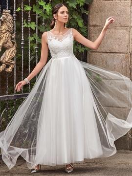 Casual Scoop Appliques A Line Wedding Dress