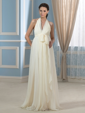 Casual V Neck Backless Maternity Wedding Dress