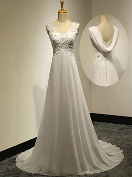 Casual V-Neck Beading Appliques A-Line Chiffon Wedding Dress