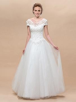 Charming A-Line Short Sleeves Scoop Lace Floor-Lengeh Wedding Dress