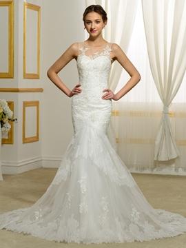 Charming Appliques Sheer Back Mermaid Wedding Dress