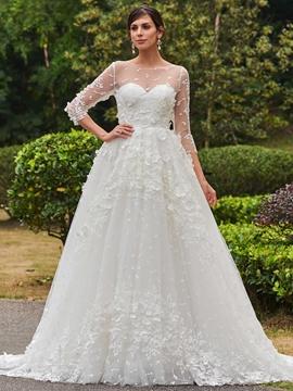 Charming Bateau A Line Lace Wedding Dress With Sleeves