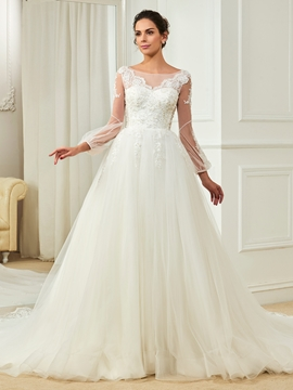 Charming Bateau Appliques Beaded A Line Long Sleeves Wedding Dress
