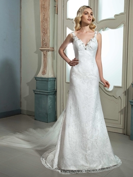 Charming Beaded V Neck Backless Lace Wedding Dress