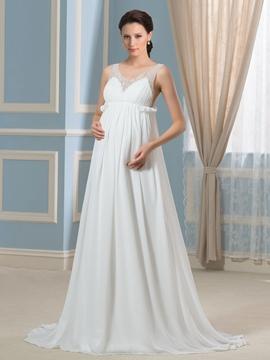Charming Beading A Line Maternity Wedding Dress