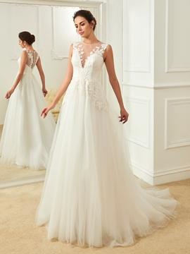 Charming Jewel Appliques Backless A Line Wedding Dress