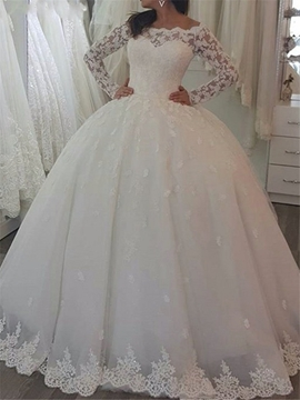 Charming Off the Shoulder Long Sleeves Ball Gown Wedding Dress