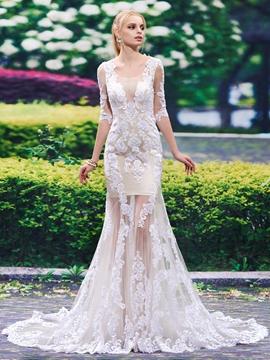 Charming Scoop Backless Mermaid Wedding Dress