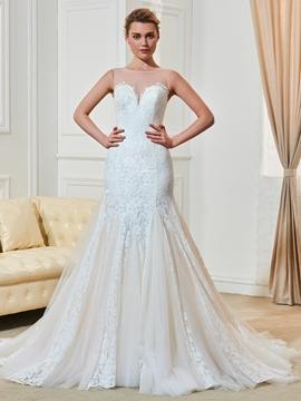 Charming Scoop Illusion Back Lace Mermaid Wedding Dress