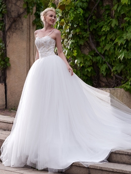 Charming Spaghetti Straps A Line Wedding Dress
