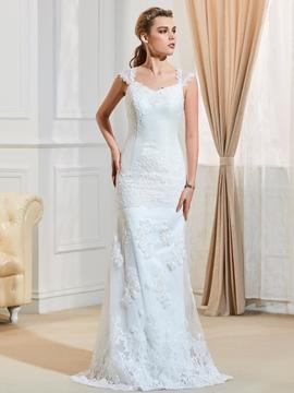 Charming Straps Appliques Mermaid Wedding Dress