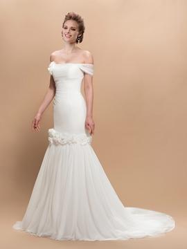 Charming Trumpet Flowers Off-the-Shoulder Trumpet Wedding Dress