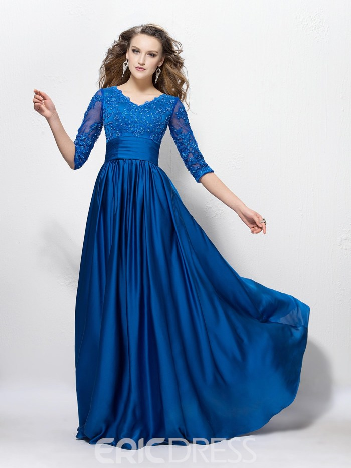 12d0c7685324 Charming V Neck A-Line Appliques Sequins Half Sleeves Floor-Length Mother  of the