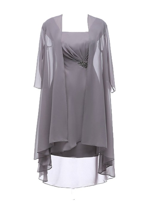 Chiffon Knee Length Plus Size Mother of the Bride Dress with Jacket