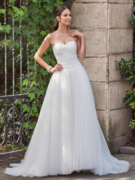Classic Appliques Beaded Sweetheart A Line Wedding Dress
