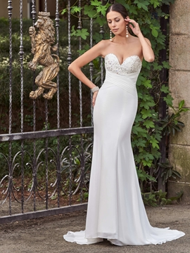 Classic Sweetheart Appliques Beaded Mermaid Wedding Dress