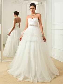Classic Sweetheart Beaded A Line Wedding Dress